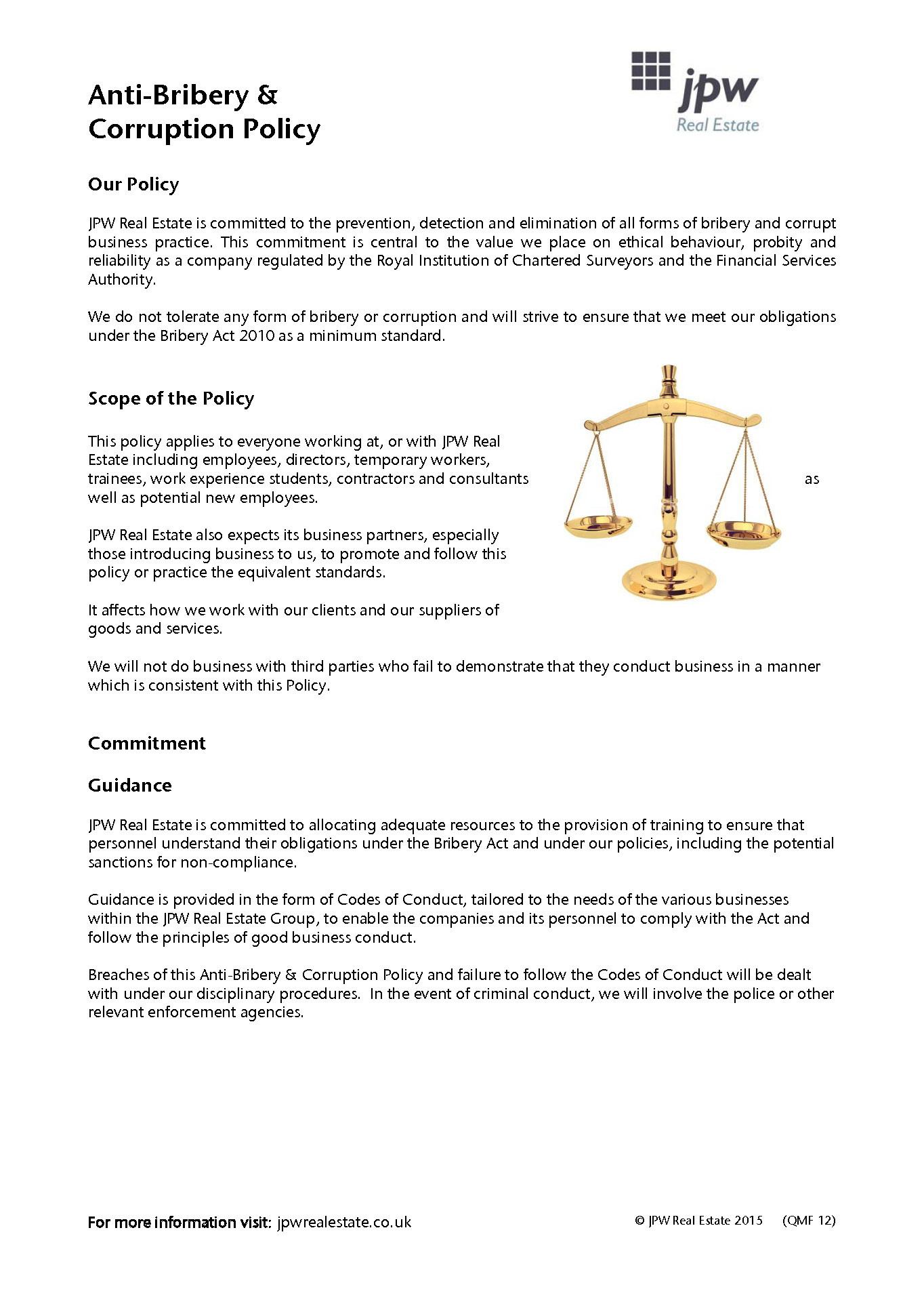 Jpw Anti Bribery Policy 2015 Page 1