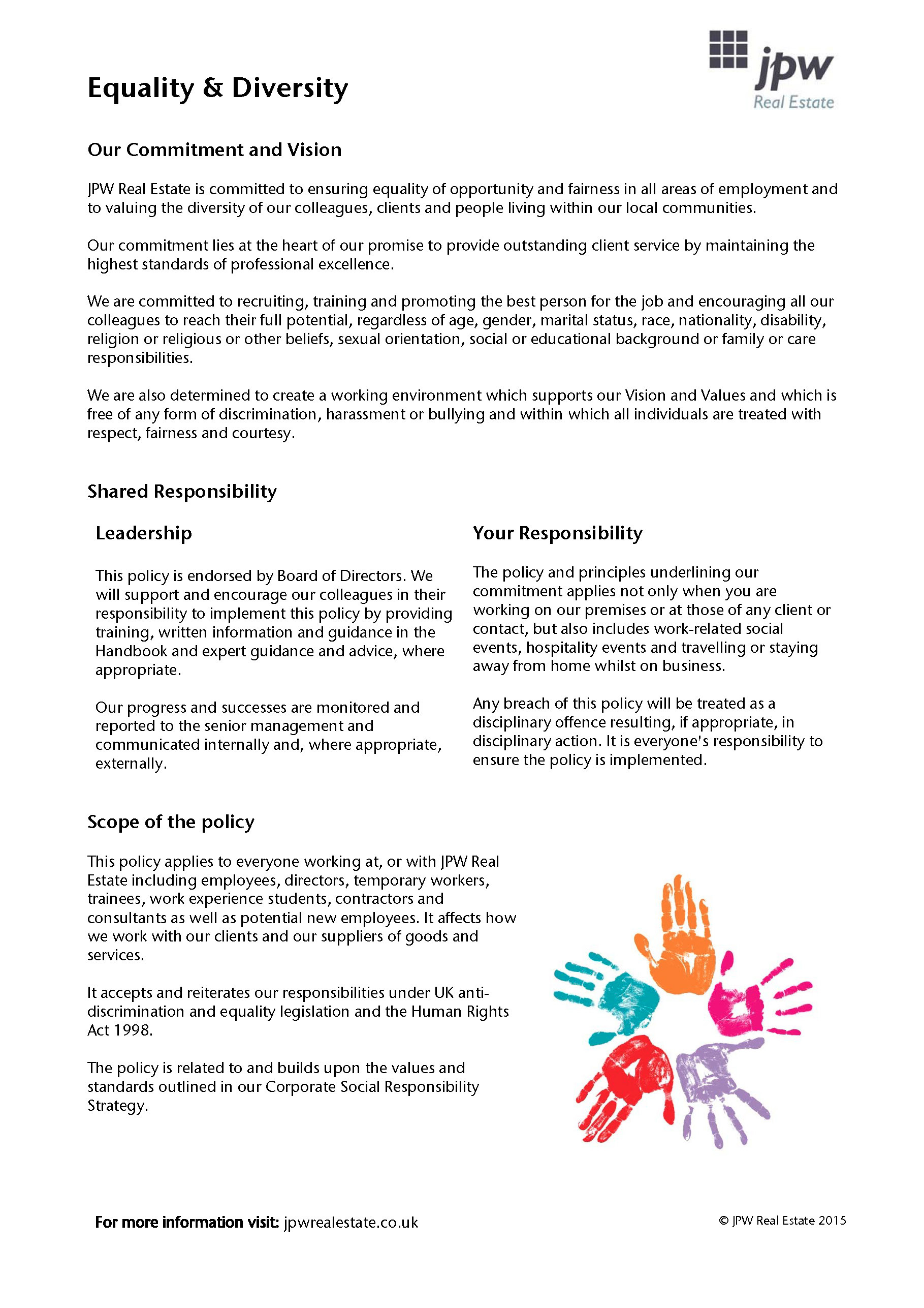 Jpw Equality Diversity Policy 2015 Page 1