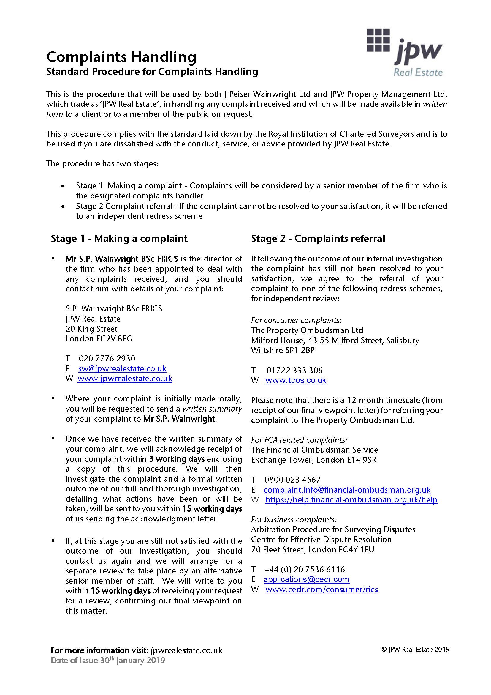 Jpw Real Estate Complaints Procedure 01 2019